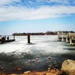 A very frozen Lake Minnetonka in April.